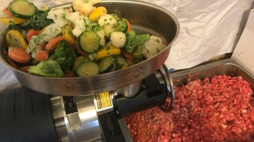 image of raw dog food preparation. All the raw meat was put through the grinder and now the vegetables will be added.