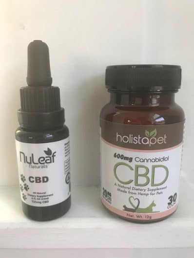 image shows nuleaf cbd for dogs and holistapet cbd for dogs and coupon codes
